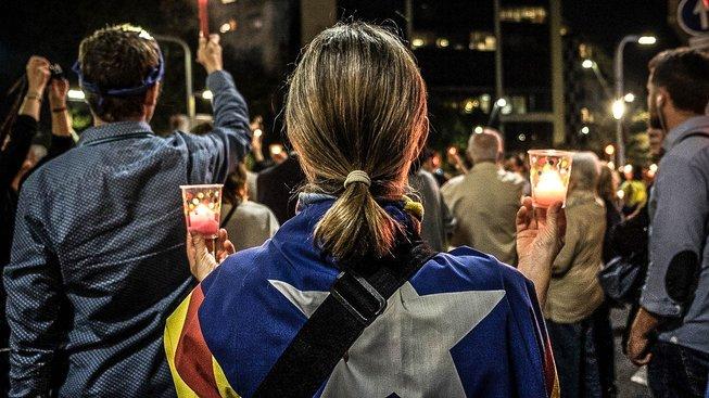 Úterní protest proti uvěznění lídrů katalánských separatistů