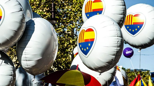 Barcelonská demonstrace za jednotné Španělsko