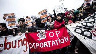 Protest Afghánských migrantů proti deportacím z Německa