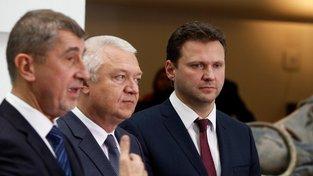 Andrej Babiš, Jaroslav Faltýnek a jediný kandidát na šéfa sněmovny Radek Vondráček