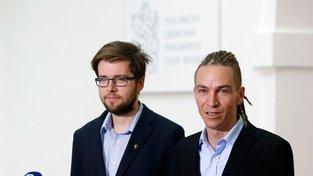 Předseda Pirátů Ivan Bartoš a místopředseda Jakub Michálek