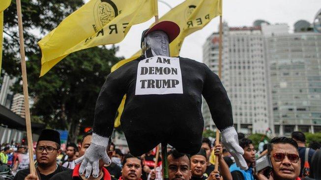 Protesty proti prohlášení Donalda Trumpa v Malajsii