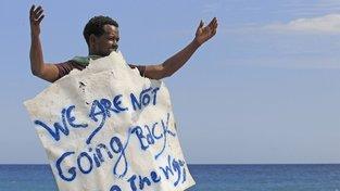 Africký migrant v italské Ventimiglii