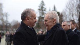 Miloš Zeman a Andrej Kiska při setkání v Bratislavě