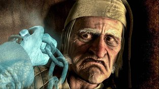 Ebenezer Scrooge v animovaném filmu Vánoční koleda z roku 2009