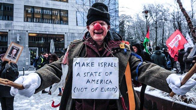 Palstinci žijící v Belgii protestují proti návštěvě izraelského premiéra Netanjahua