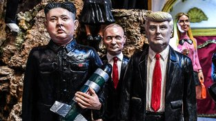 Figurky Kim Čong-una, Vladimira Putina a Donalda Trumpa
