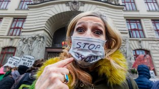 Pražská demonstrace proti špatnému životnímu prostředí, únor 2017