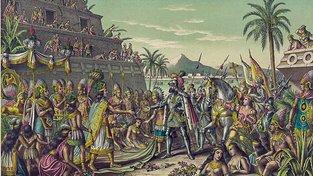 Mor po světě šířili obchodníci. Na malbě Hernando Cortéz s Indiány v Mexiku. Ilustrace