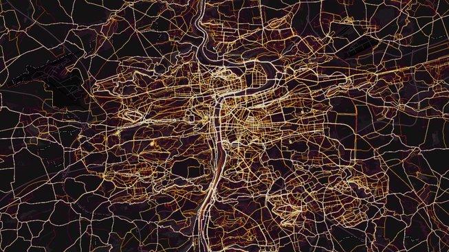 Pro představu: Takhle na mapě STRAVA vypadá Praha