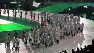 Ruští sportovci na slavnostním zahájení zimních olympijských her v Pchjongčchangu