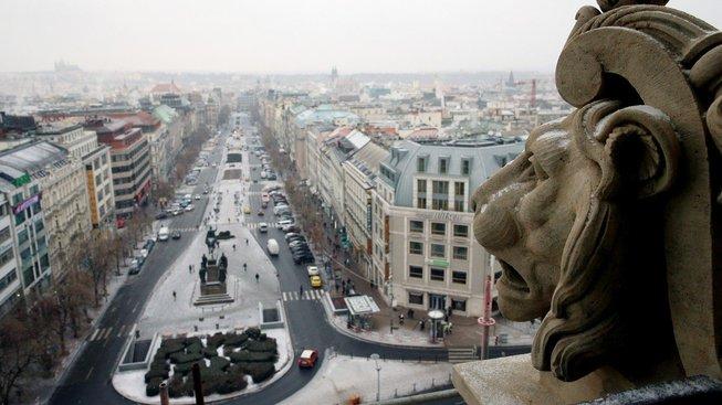 Pohled z Národního muzea na Václavské náměstí