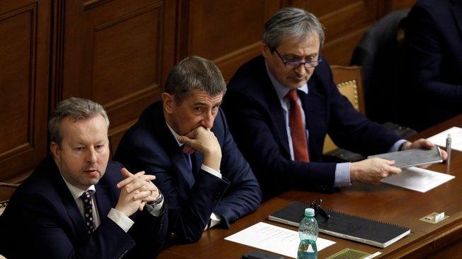 Premiér Andrej Babiš s ministry Martinem Stropnickým a Richardem Brabcem