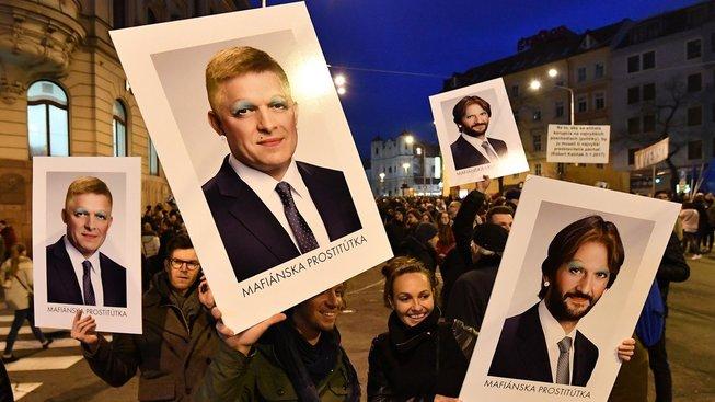 Páteční protesty na Slovensku
