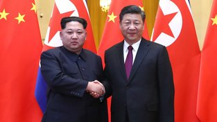 Kim Čong-un s čínským prezidentem Si Ťin-pchingem