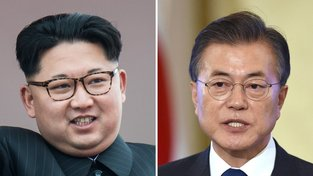 Vůdce KLDR Kim Čong-un a jihokorejský prezident Mun Če-in