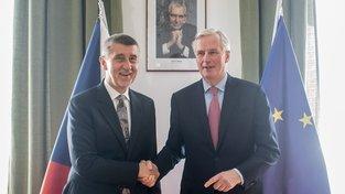 Premiér v demisi Andrej Babiš a unijní vyjednavač pro brexit Michel Barnier