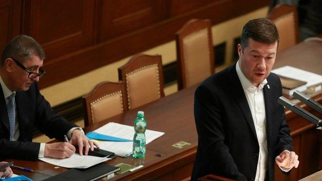 Andrej Babiš (hnutí ANO) a Tomio Okamura (SPD) v Poslanecké sněmovně ČR