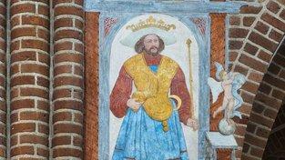 Freska u hrobu Haralda Modrozuba v katedrále v dánském Roskilde