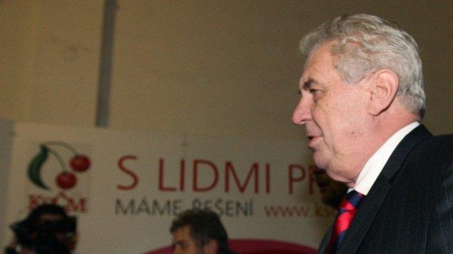 Miloš Zeman v sídle KSČM