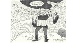 Kontroverzní karikatura Dietera Hanitzsche v deníku Süddeutsche Zeitung