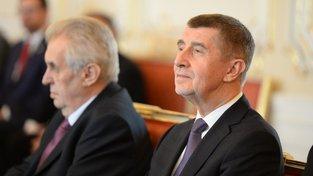 Prezident Miloš Zeman a premiér v demisi Andrej Babiš