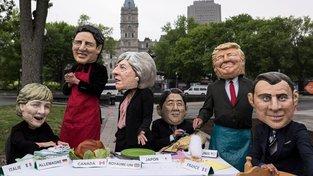 Setkání světových vůdců v Kanadě se stalo terčem vtipů ze strany protestujcích