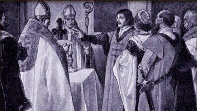 Přísaha Jiříka z Poděbrad a Johanky na obraze Věnceslava Černého