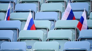 Sedadla na stadionu v Soči před čtvrtfinálovým utkáním Ruska s Chorvatskem
