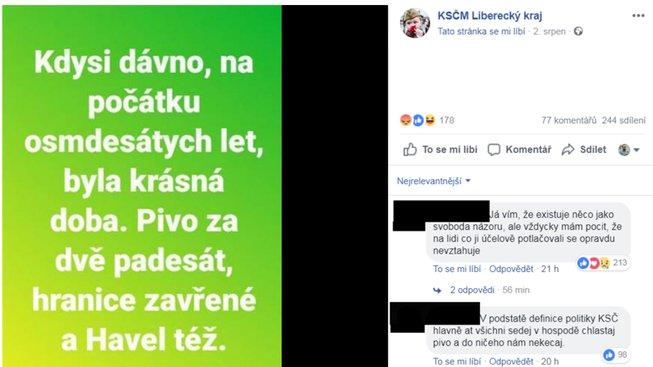 facebook komunisté liberecko
