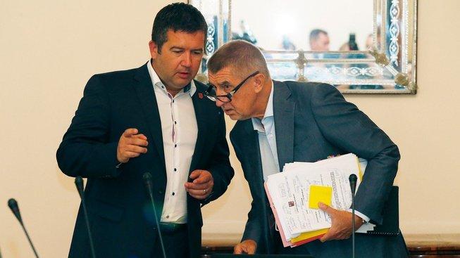Šéf ČSSD Jan Hamáček a předseda ANO Andrej Babiš