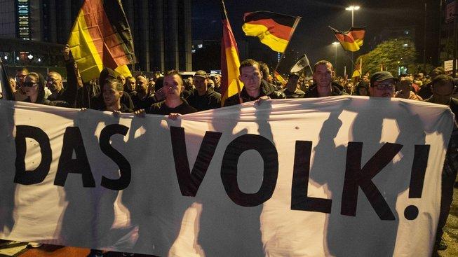 Demonstrace pravicových radikálů v Saské Kamenici