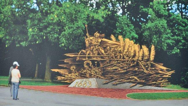 Vizualizace plánovaného pomníku Jana III. Sobieského na vídeňském Kahlenbergu