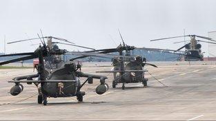 Vrtulníky na základně americké armády Ansbach-Katterbach
