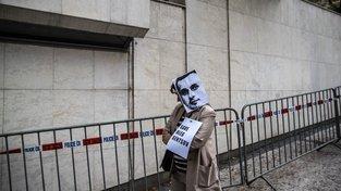 Demonstrantka požadující režisérovo propuštění