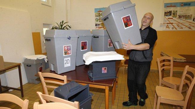 Volební místnost v Litoměřicích