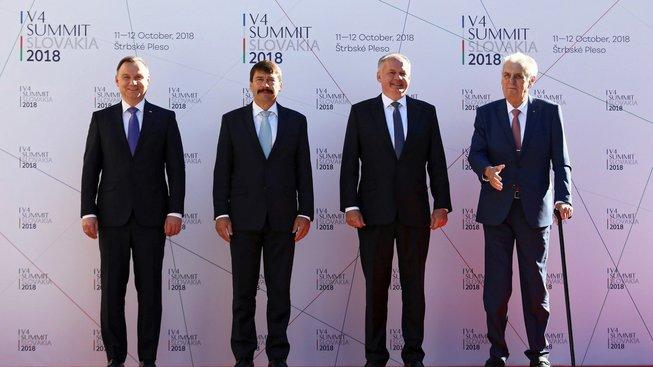 Prezidenti Polska, Maďarska, Slovenska a Česka na summitu V4