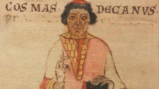 Kronikář Kosmas na dobové kresbě z díla Lipský rukopis