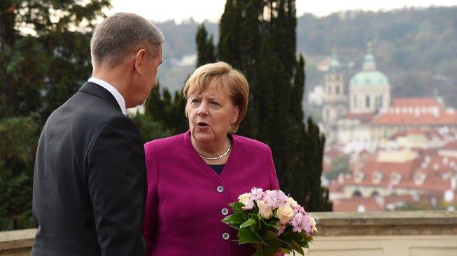 Andrej Babiš a Angela Merkelová v Praze
