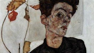 Egon Schiele na jednom ze svých autoportrétů