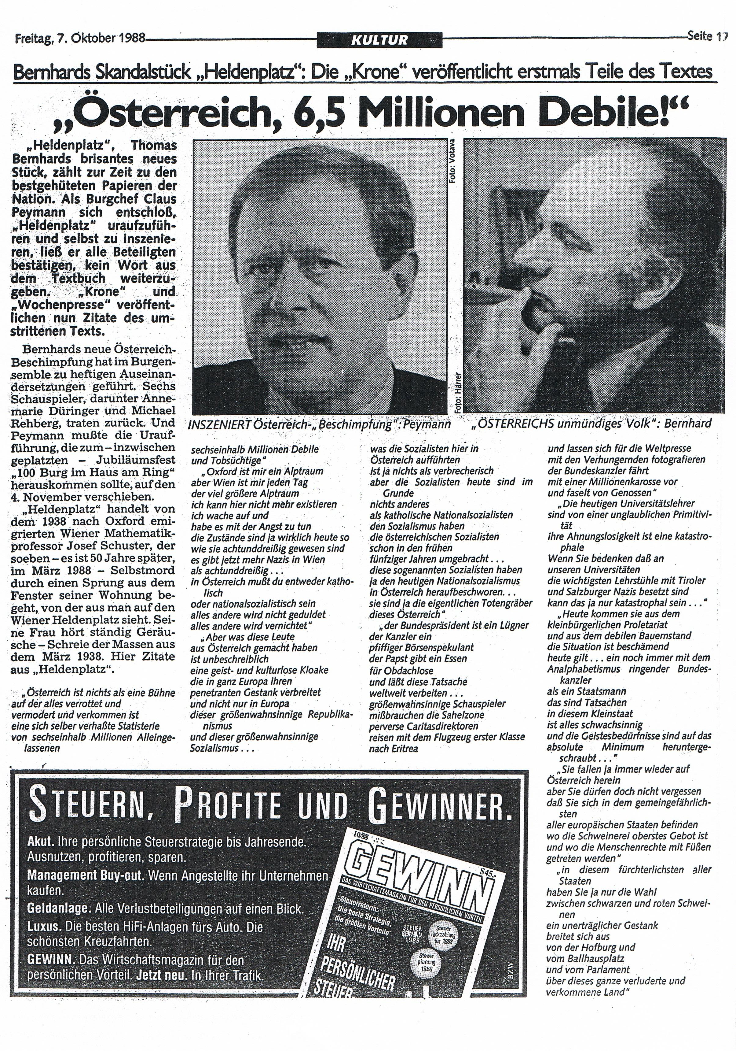 19881007 KRONE KULTUR Seite 17 OESTERREICH, 6,5 MILLIONEN DEBILE