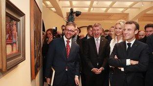 Andrej Babiš, Monika Babišová a Emmanuel Macron