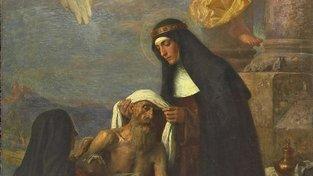 Emanuel Dítě ml.: Sv. Anežka ošetřuje nemocného (1895)