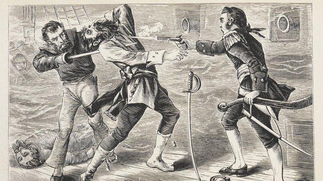 Ilustrace zobrazující Černovousovu smrt