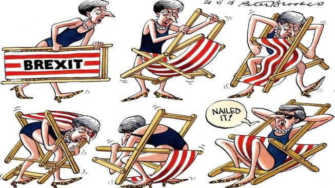 Skvělá práce (Nailed It), chválí se Theresa Mayová - Pat a Mat z Downing Street č. 10. Její brexitové lehátko však Britům nevyhovuje. Není divu