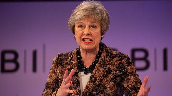 Theresa Mayová během svého projevu
