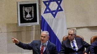 Izraelský premiér Benjamin Netanjahu a český prezident Miloš Zeman v izraelském parlamentu