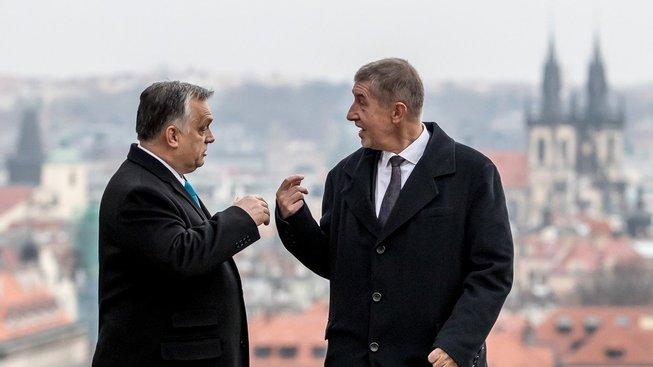 Andrej Babiš a Viktor Orbán během setkání v Praze