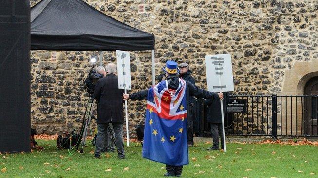 Protestující proti brexitu u londýnského parlamentu