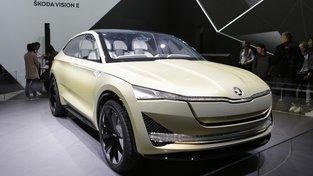 Škoda Vision E, prototyp plnokrevného elektromobilu, který má být sériově vyráběn v roce 2020. Konstruktéři počítají s tím, že na jedno nabití ujede 500 kilometrů.